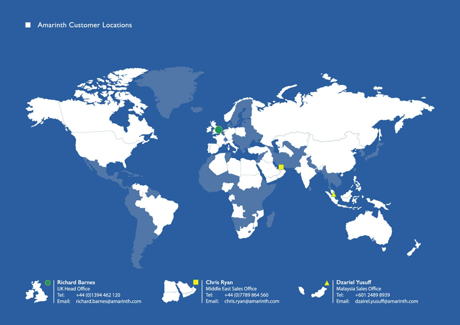 World locations of Amarinth manufacturing operations and clients
