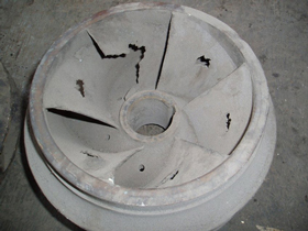 Impeller damaged by caviatation